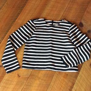 Zara Woman XS black and white striped top